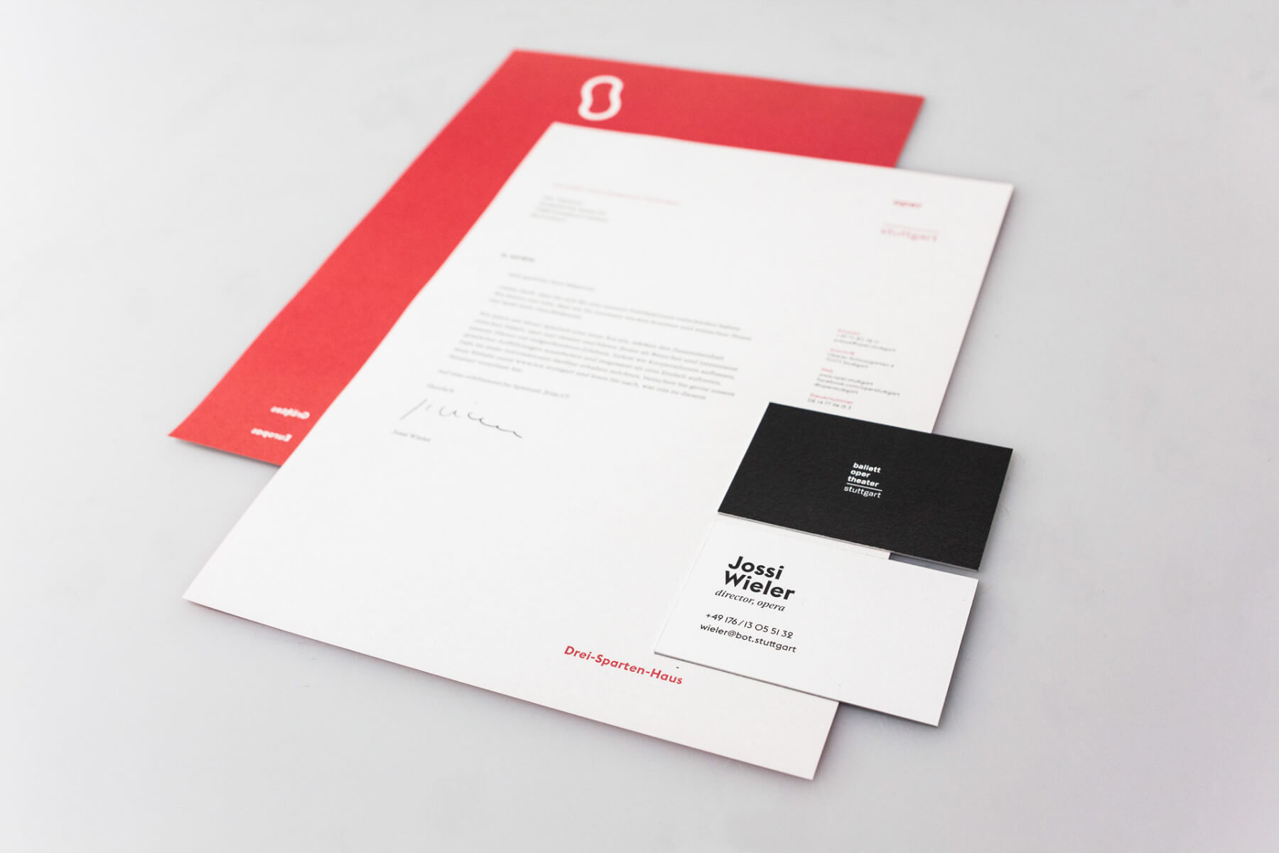 Perspective picture of stationery for oper stuttgart